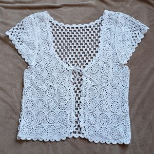 Vintage open crochet overlay top front tie white